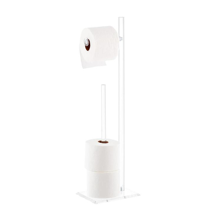 Clear All Acrylic Lucite Wall Mount Toilet Paper Holder
