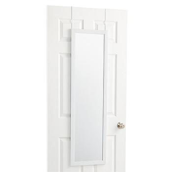 Rectangular White Metal Over The Door Mirror
