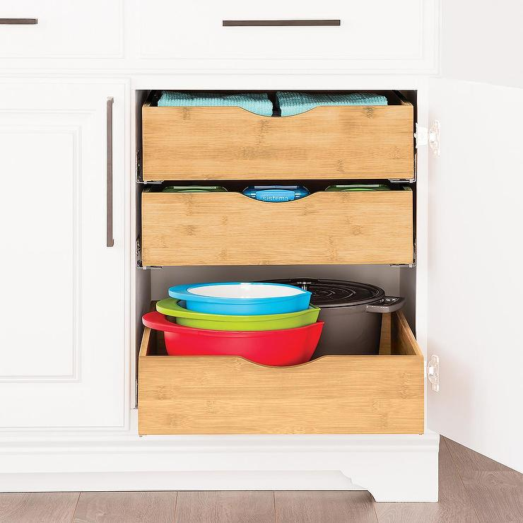 Bamboo Wood Roll Out Cabinet Drawers, Roll Out Cabinet Drawer