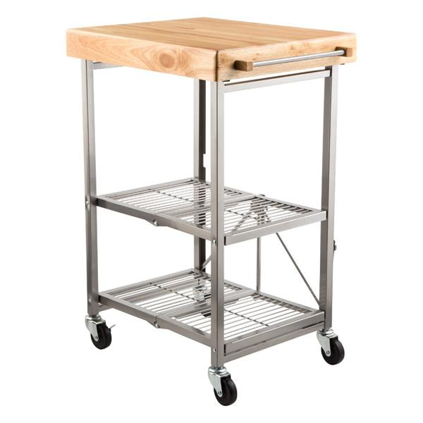 Bentley Industrial Metal And Wood Wheeled Kitchen Serving: Industrial Style Steel And Wood Table Cart