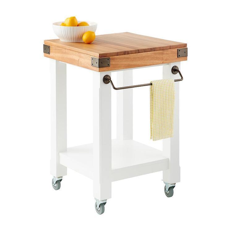 Butcher Block White Rolling Kitchen Island Cart