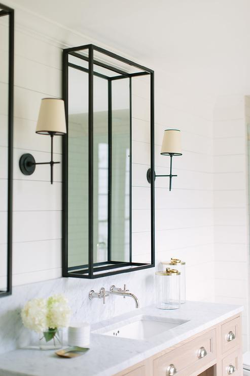 Shiplap Walls With Oil Rubbed Bronze Frame Mirrors Transitional