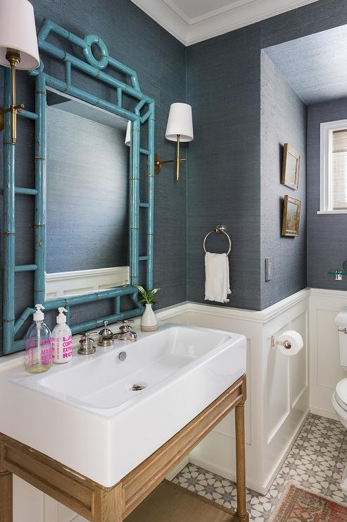 White And Gray Master Bath With Cement Tile Shop Starburst