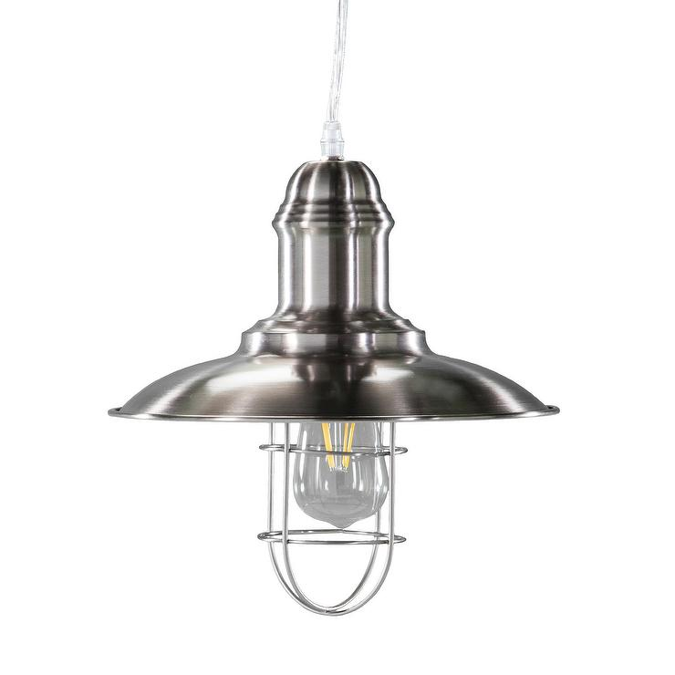 Taylon Brushed Nickel Industrial Cage Pendant