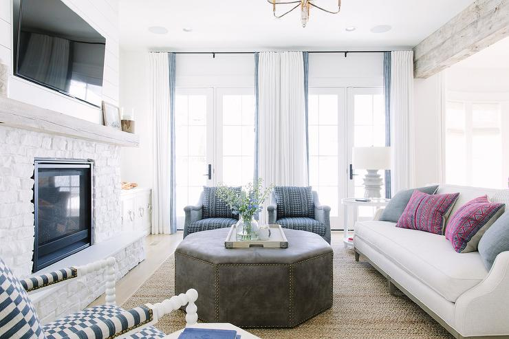 Blue Accent Chairs For Living Room.Gray Leather Hexagon Ottoman With Blue Accent Chairs Transitional