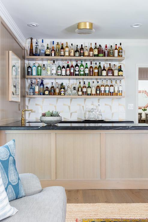 Remarkable Gray Wash Wet Bar Floating Shelves Transitional Kitchen Download Free Architecture Designs Rallybritishbridgeorg