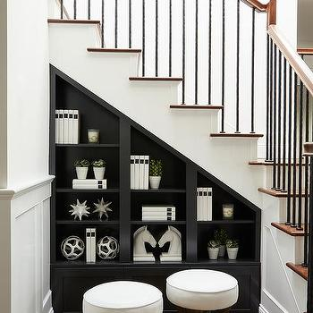 Black Built In Shelves Under White Staircase & Black Built In Shelves Below Staircase Design Ideas