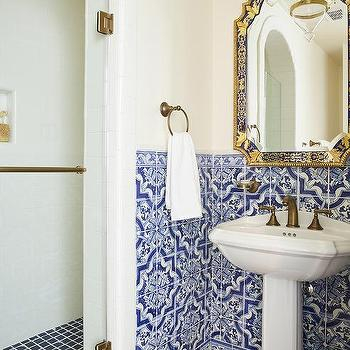White Lacquered Bath Vanity With Blue Mosaic Moroccan Tiles Contemporary Bathroom