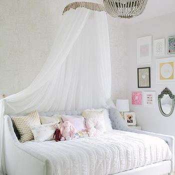 Sheer White Girls Bed Canopy Design Ideas
