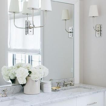 White And Gray Bathroom With Niche Shelves Over Tub