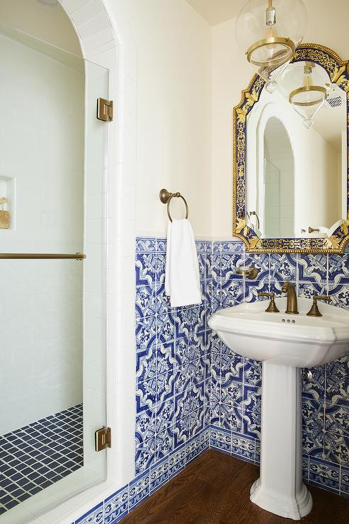 Shower With Blue Tiles Contemporary Bathroom Palmer
