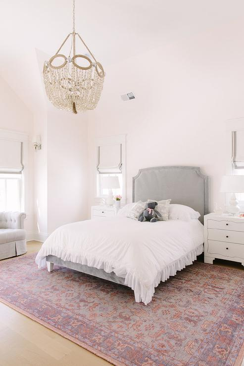 Gray Headboard On Pink And Purple Rug Transitional Girl S Room
