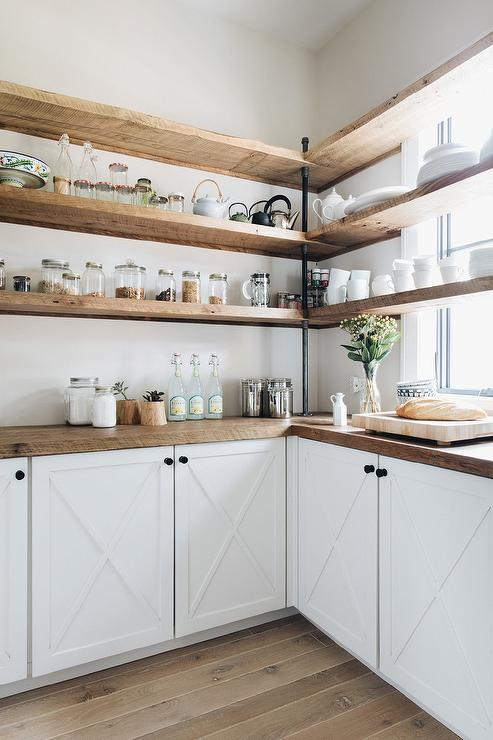 White Pantry Cabinets With Rustic Wooden Countertops Transitional