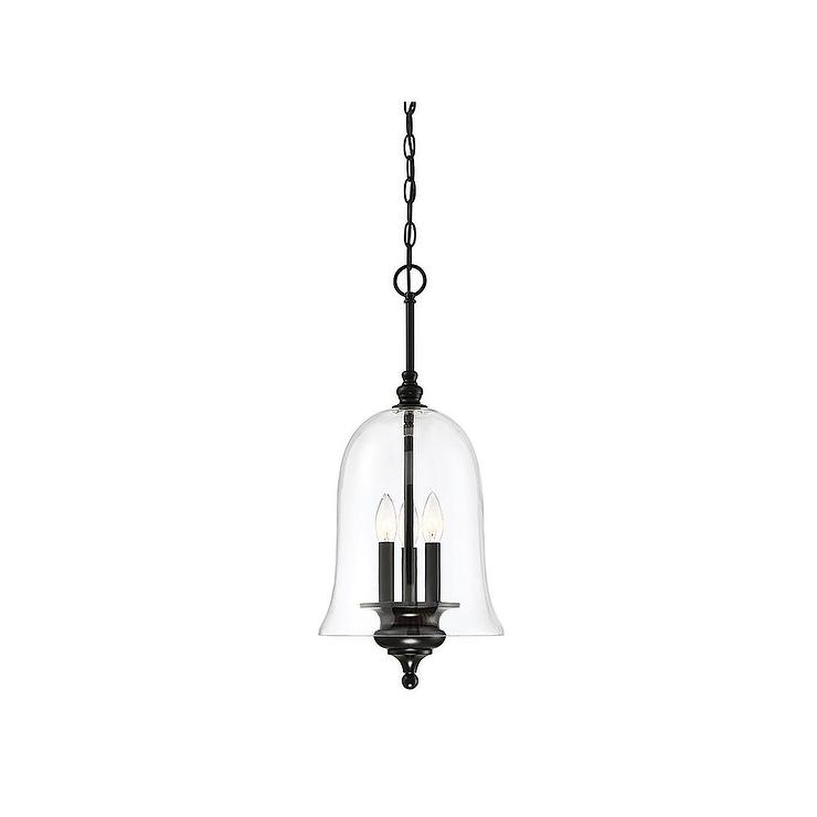 Meridian Matte Black Bell Shaped Glass Pendant