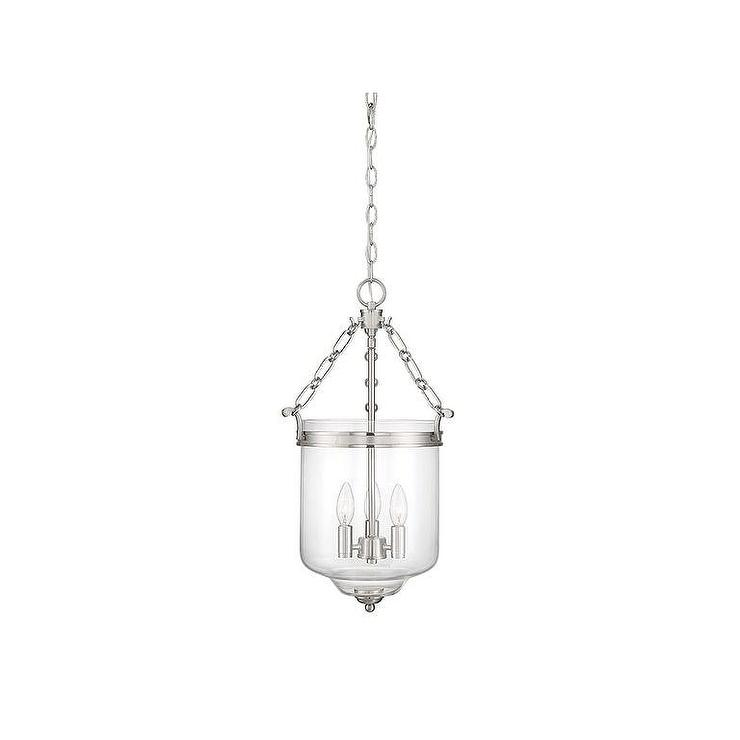 Meridian Brushed Nickel 3 Light Glass Pendant