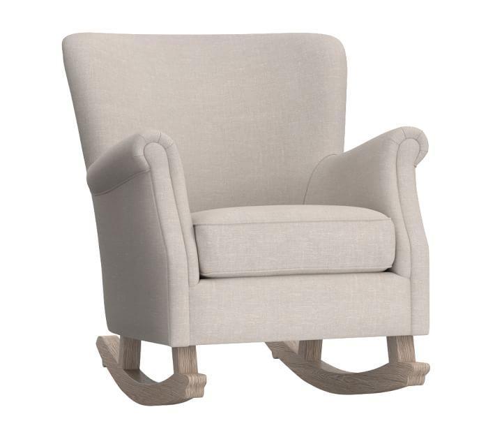 Awe Inspiring Minna Beige Linen Wood Nursery Rocking Chair Gamerscity Chair Design For Home Gamerscityorg