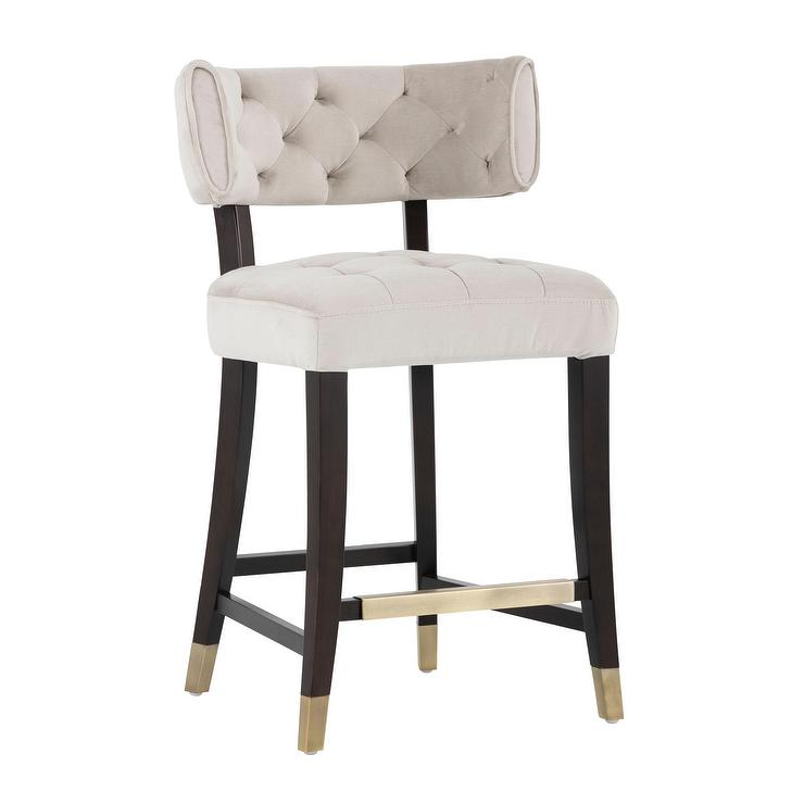 Enjoyable 5West Ivory Curved Tufted Black Brass Counter Stool Lamtechconsult Wood Chair Design Ideas Lamtechconsultcom