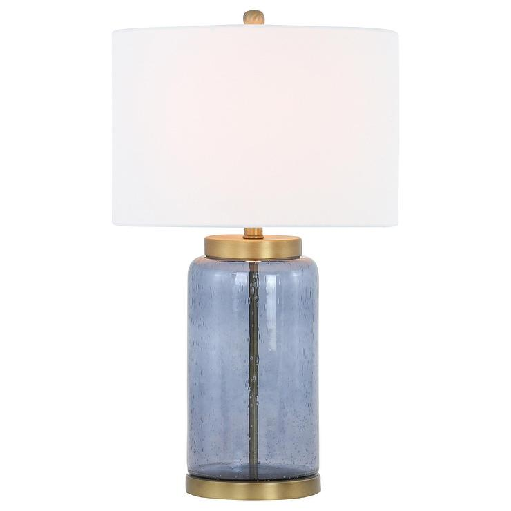 Acton Blue Seeded Glass Brass Table Lamp