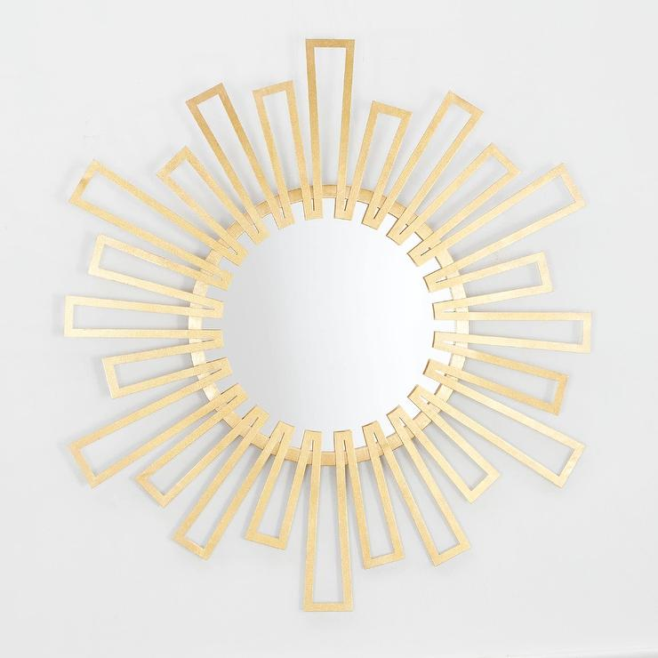 Helen Geometric Round Sunburst Brass Wall Mirror