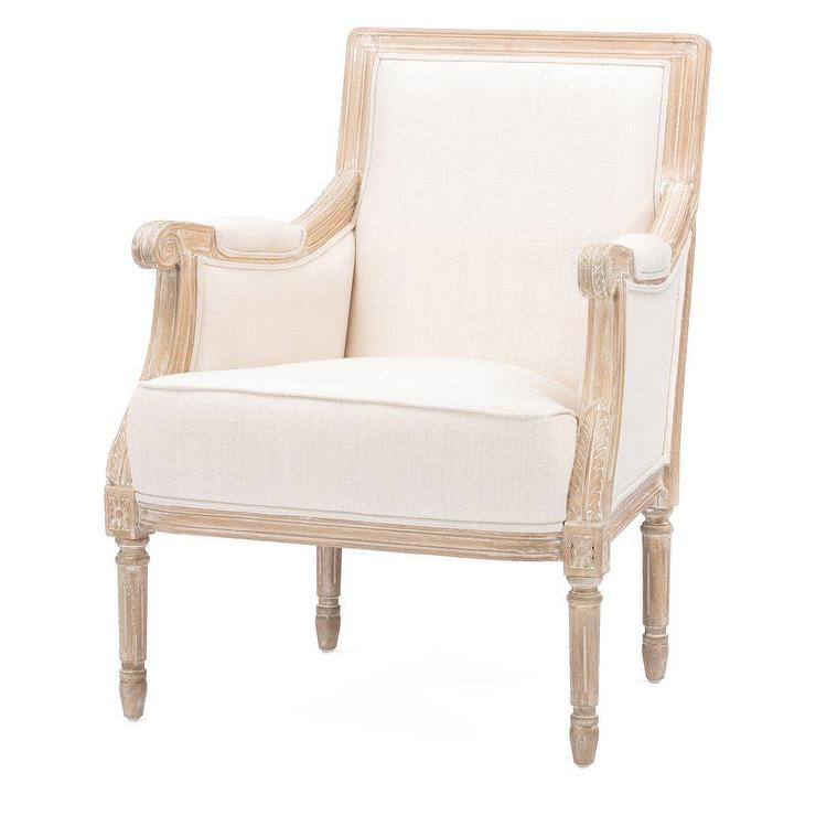 Living Room Beige Accent Chair With Exposed Wood Legs