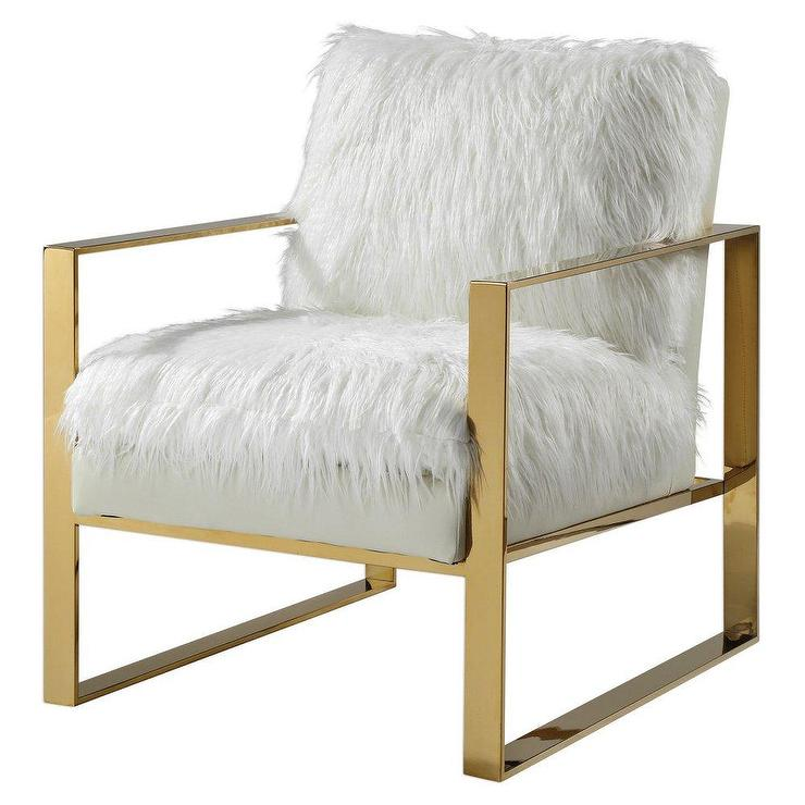 Remarkable Delphine White Faux Fur Gold Accent Chair Gmtry Best Dining Table And Chair Ideas Images Gmtryco