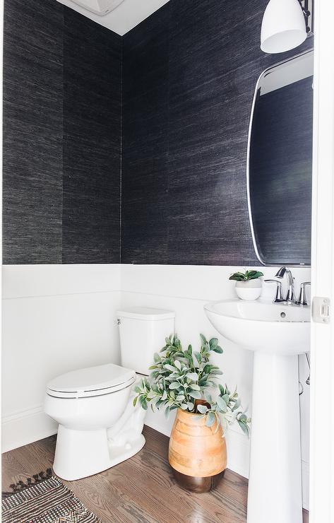 Powder Room Grasscloth Wallpaper Design Ideas