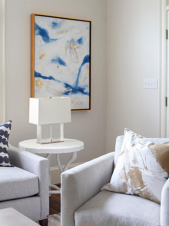 White Blue Gold Abstract Art Transitional Living Room