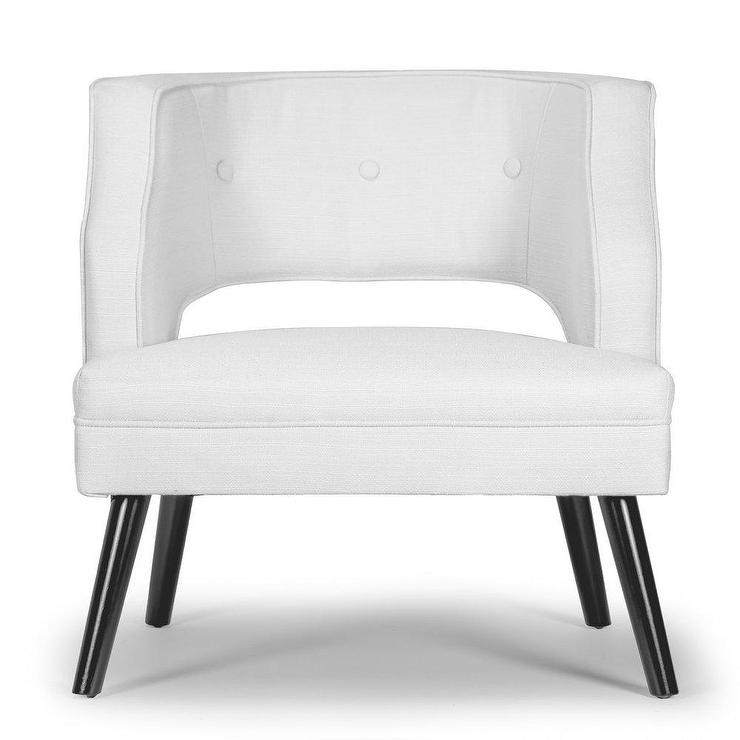 Strange Alessa Curved White Leather Open Back Accent Chair Caraccident5 Cool Chair Designs And Ideas Caraccident5Info