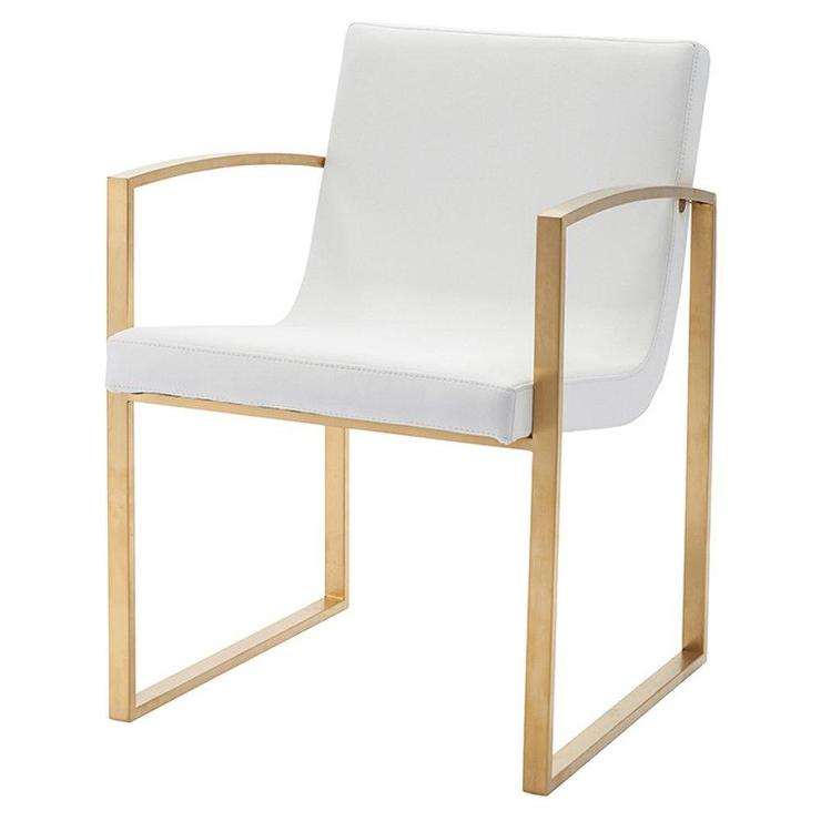 Fantastic Clara Curved White Leather Gold Accent Chair Evergreenethics Interior Chair Design Evergreenethicsorg