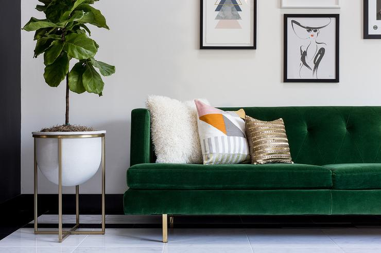Emerald Green Velvet Tufted Sofa On Brass Legs