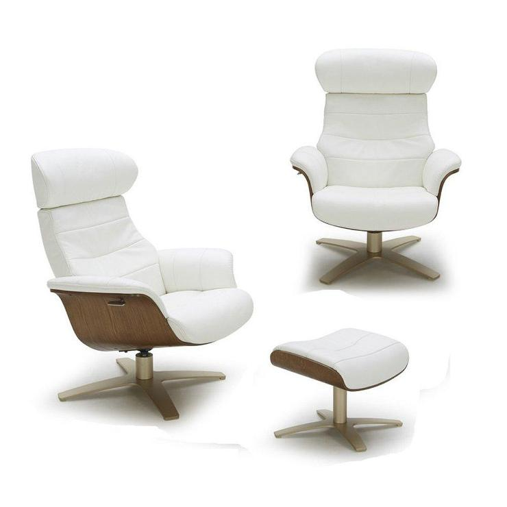 Fine Karma White Leather Wood Recliner Accent Chair Machost Co Dining Chair Design Ideas Machostcouk