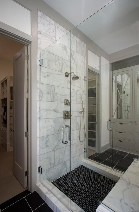 Marble Grid Shower Border Tiles Transitional Bathroom