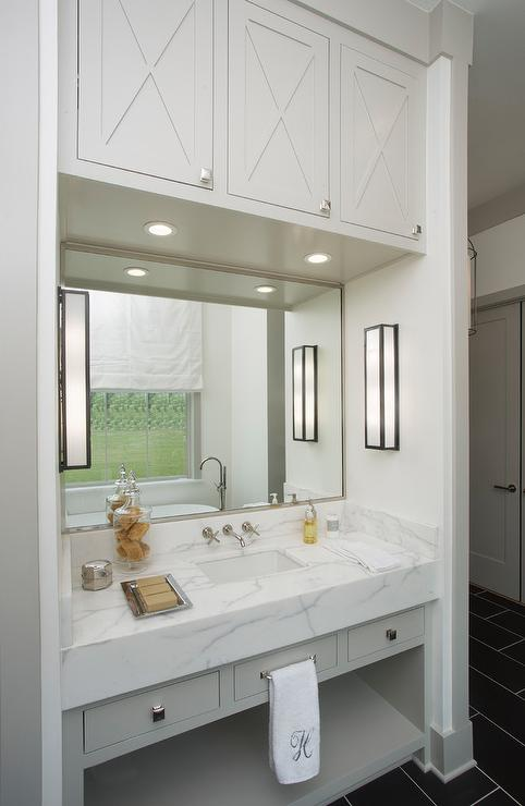 Gray Bath Vanity In Nook With Upper Cabinets Transitional Bathroom