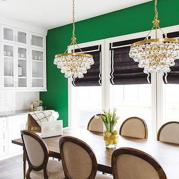 Savvy Interiors · Brass Bling Chandeliers Over Gray Wood Dining Table