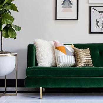 Blue Velvet Sofa Eclectic Living Room Redmond