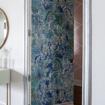Powder Room Jib Door With Blue Wallpaper