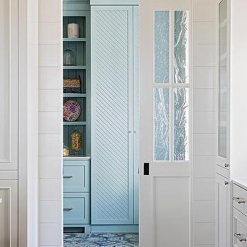 Turquoise Blue Kitchen Pantry With Pocket Door