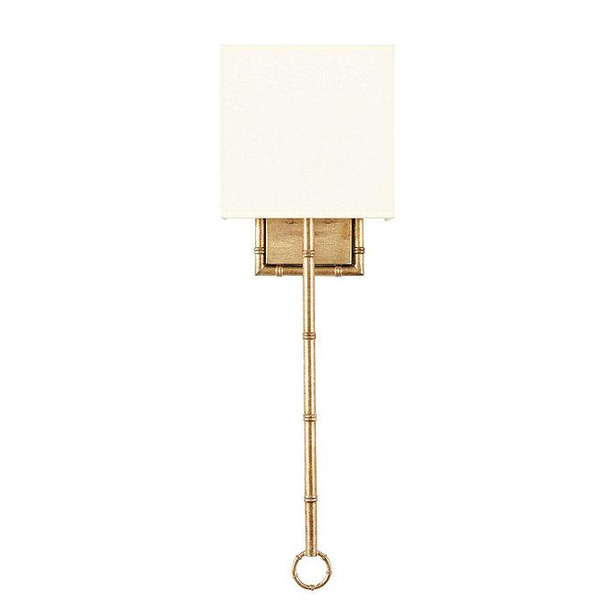 free shipping 84019 df812 Bamboo Gold Metal Cream Shade Wall Sconce