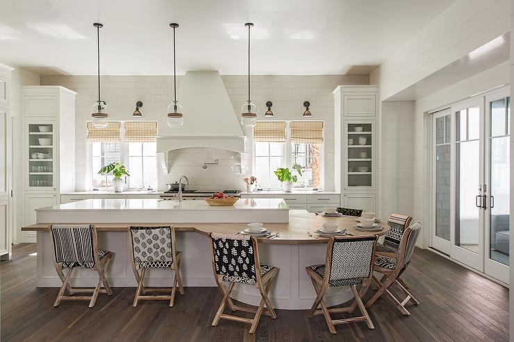 round kitchen island with folding stools - Round Kitchen Island