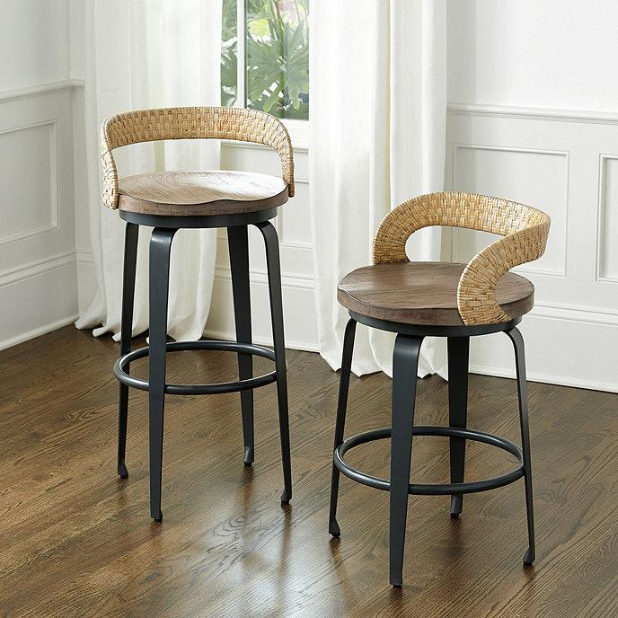 Tremendous Trevisa Curved Woven Rattan Back Metal Stools Gmtry Best Dining Table And Chair Ideas Images Gmtryco