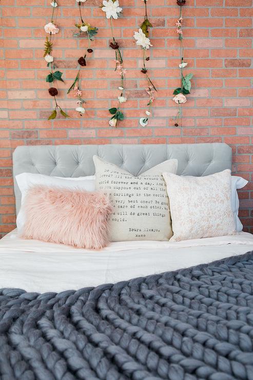 Gray Velvet Tufted Headboard With Black Nightstands Transitional Bedroom