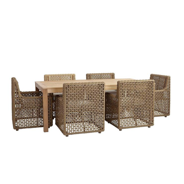 Provincetown Handwoven Wicker Teak 7 Piece Dining Set
