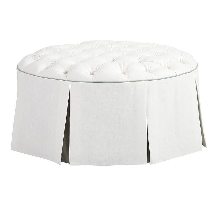 Magnificent Hayes Round White Linen Tufted Pleated Ottoman Creativecarmelina Interior Chair Design Creativecarmelinacom
