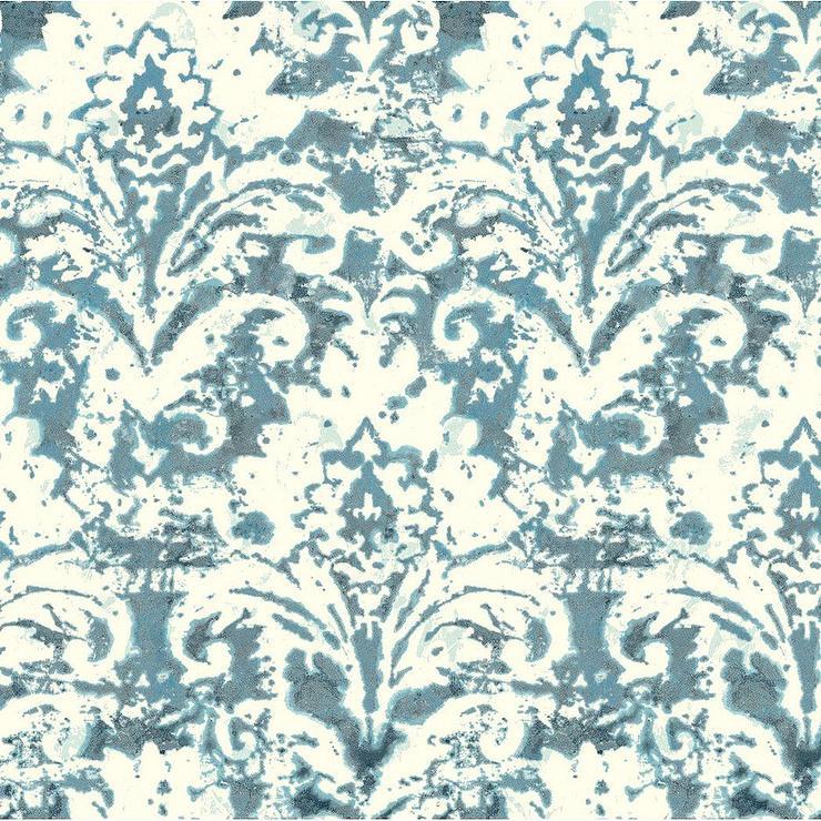 Blue Cream Watercolor Damask Wallpaper