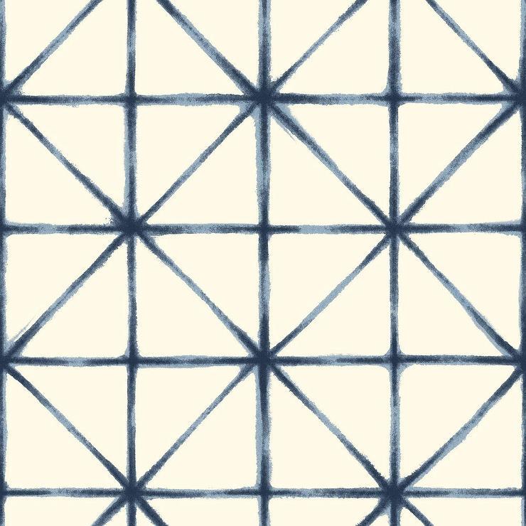 Watercolor Mykonos Blue Cream Wallpaper