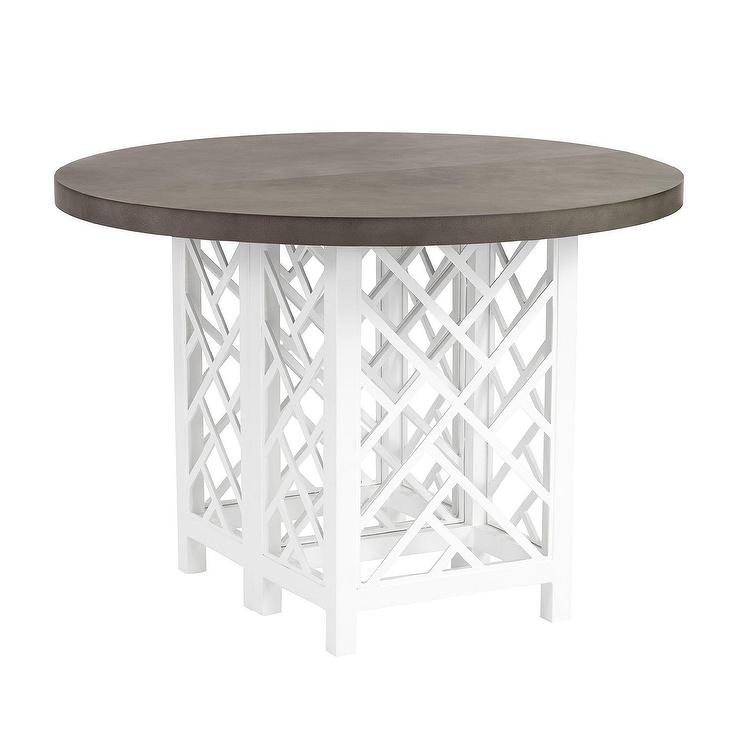 Emmond Mid Century White Wood Round Dining Table