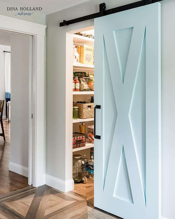 Aqua Blue Pantry Barn Door on Rails