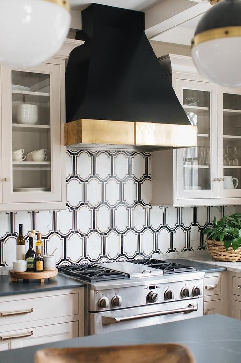 White And Black Geometric Kitchen Backsplash Tiles Design
