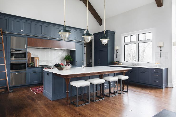 White Kitchen with Blue and Green Accents - Transitional - Kitchen