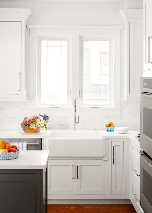White Kitchen With Burnt Orange Rug Transitional Kitchen